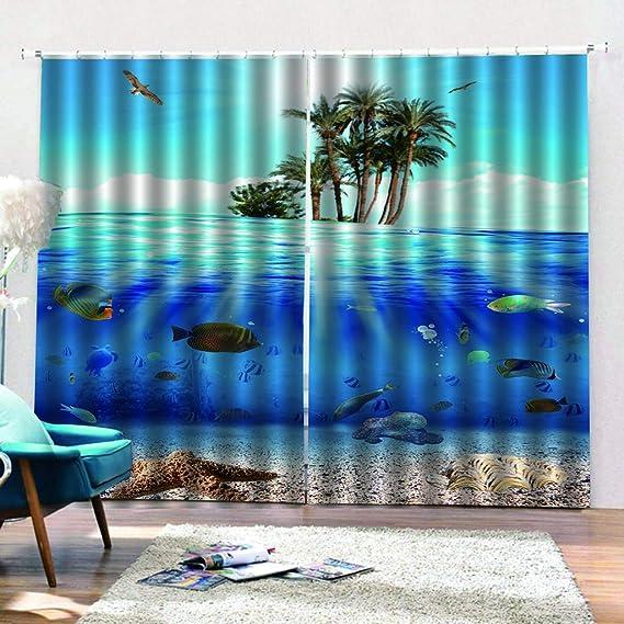 Undersea Animal Blue Ocean Digital Printed Curtains 117Cm X 137Cm xszhqxxla Kids Bedroom 3D Curtains Living Room ChildrenS Room Home Decor Curtains 46 W X 54 H