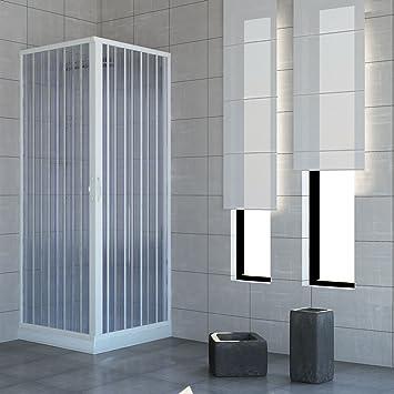 Mampara de ducha de dos puertas con cierre de ángulo de 90º Producto de PVC no tóxico autoextinguible. Se puede reducir en tamaño mediante el corte del carril. Color blanco.: Amazon.es: Bricolaje
