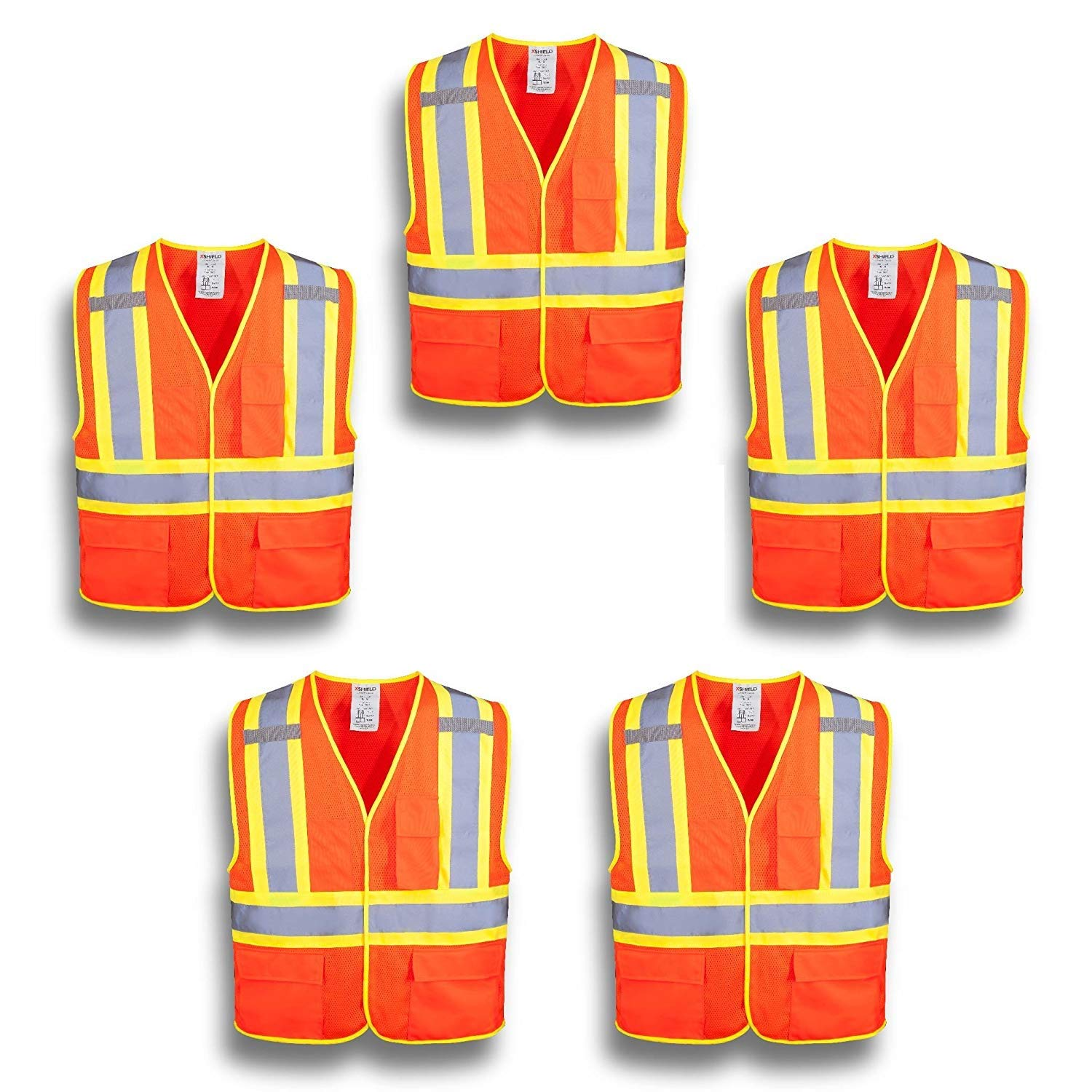 XSHIELD XS0100,High Visibility Safety Vest with Silver Stripe,ANSI/ISEA 107-2015 Type R Class2 Not FR,Pack of 5 (L, Orange)