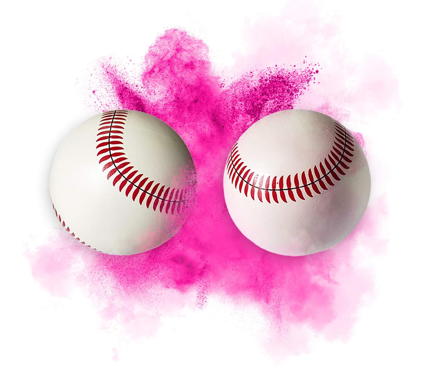 Gender Reveal Celebration Baseball | Blue or Pink Powder | Set of 2 (Pink)