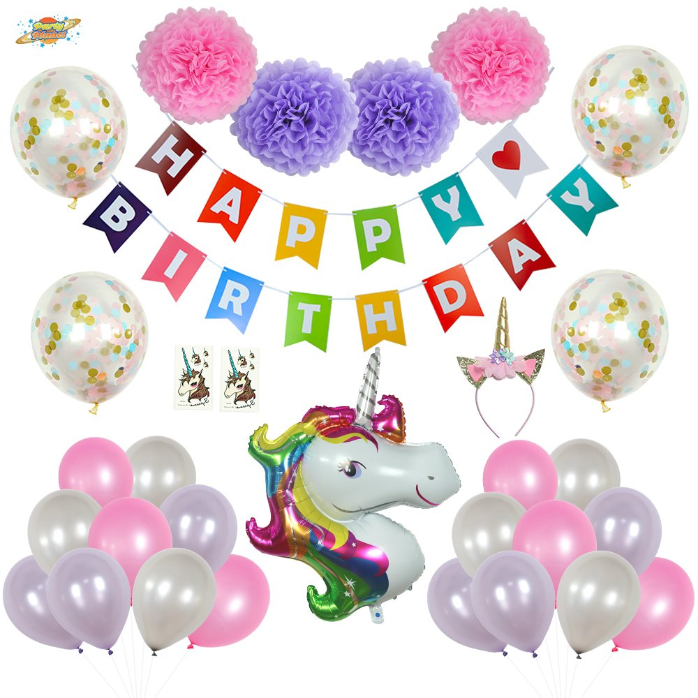 PartyPlanet Unicorn Party Decorations Birthday Supplies For Girls Colorful Happy Banner Tattoos Theme Decor Pack