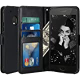 Moto G5 Plus Case, LK Luxury PU Leather Wallet Flip Protective Case Cover with Card Slots and Stand for Motorola Moto G Plus (5th Generation) - Black