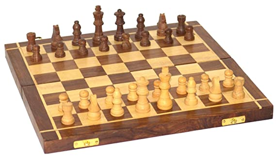 Classic Shoppe Wooden Handmade Standard Classic Chess Board Game Foldable(Non-Magnetic)