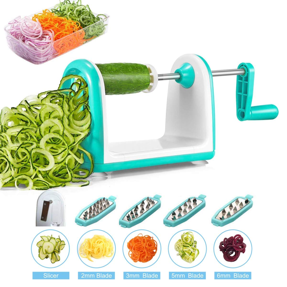 Vegetable Spiralizer, Vegetable Slicer, iNeibo 5-Blade Spiral Slicer Spaghetti Maker with Free Cleaning Brush and Anti-Slip Sucker for Zucchini Noodles,Pasta etc