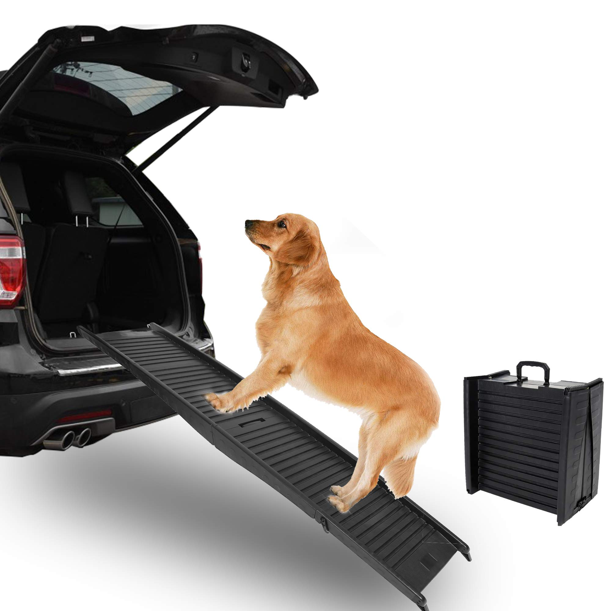 ECOTRIC Folding Pet Dog Ramps for SUV Truck RV Cars |Sturdy and Compact and Lightweight | Pets Accessories Best for Car or High Bed, Small Medium Large Dog & Older Cats | Upgraded with Grip Tape by ECOTRIC