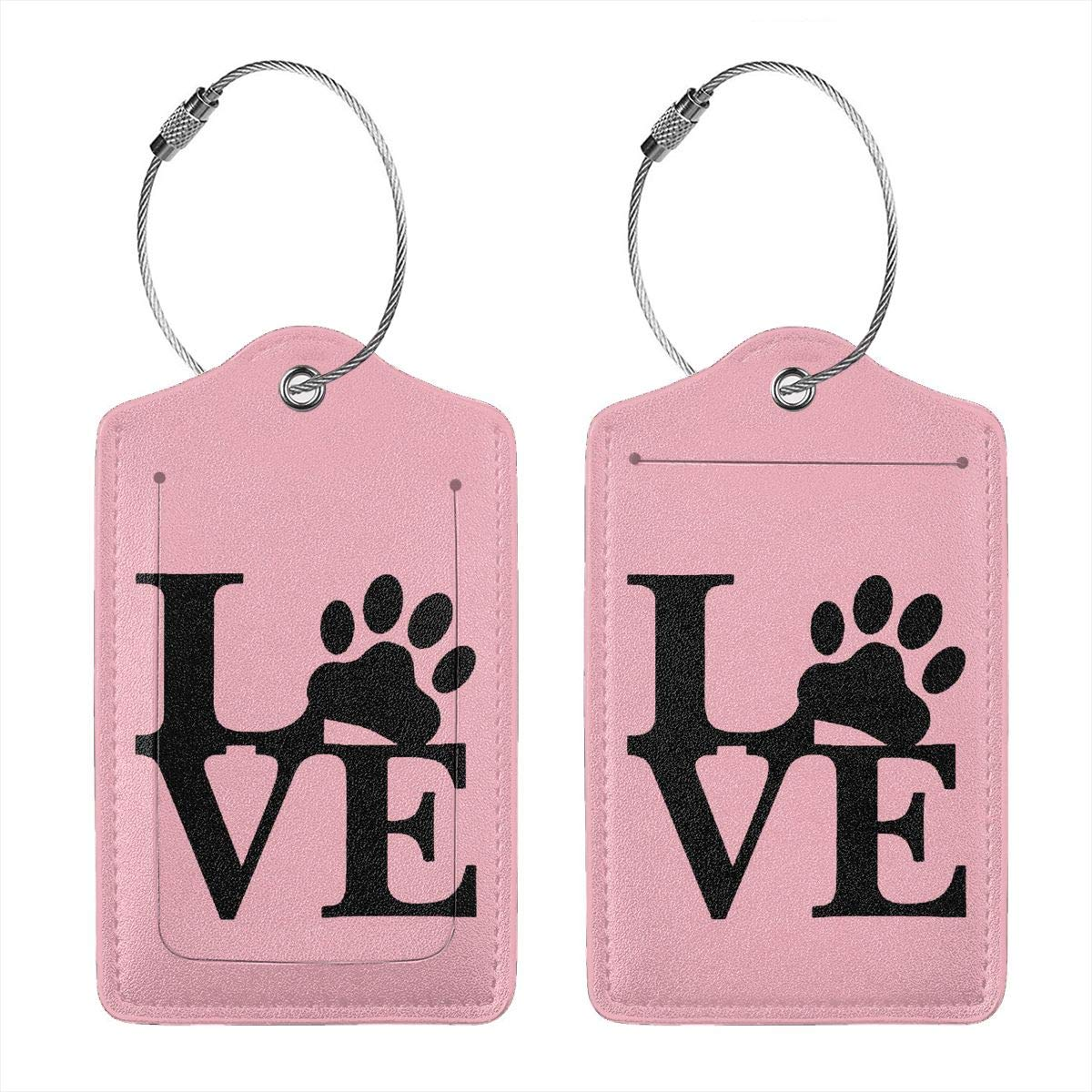 Love Paw Leather Luggage Tags Suitcase Tag Travel Bag Labels With Privacy Cover For Men Women 2 Pack 4 Pack