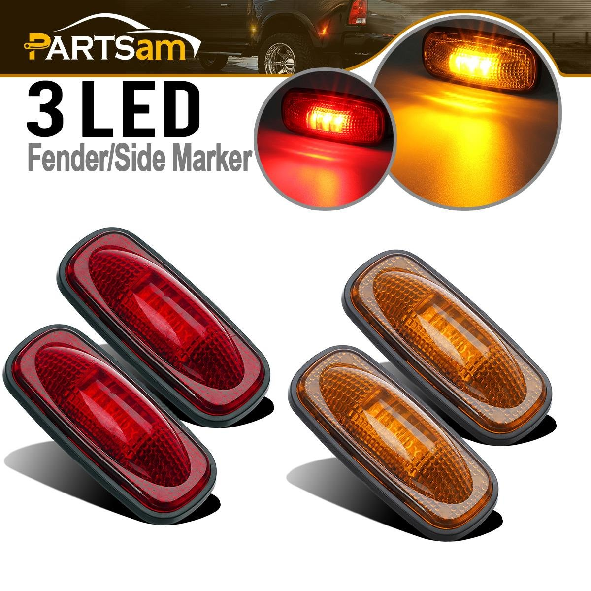Partsam For 2003-2009 DODGE RAM 3500 LED Side Fender Marker Light 2x Amber & 2x Red Smoked Black Lens