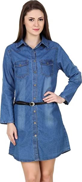 2b678183e6 Lady Bird Women Long Sleeve Monkey Wash Denim Tunic Top Kurti with Belt,  Light Blue
