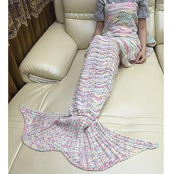 gwell adultos sirenas cola – Manta Chica cálido Forro Polar sofá cama Saco de dormir Colcha