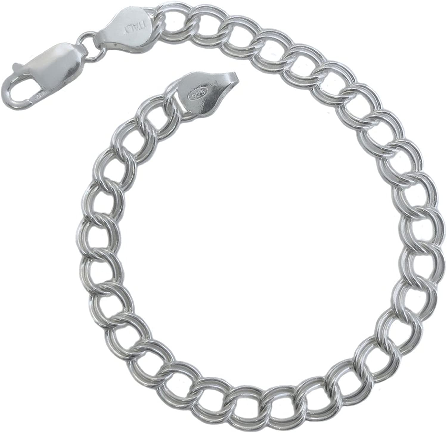 Sterling Silver 7MM /& 8MM Double Link Charm Bracelet Anklet Light Weight Nickel Free