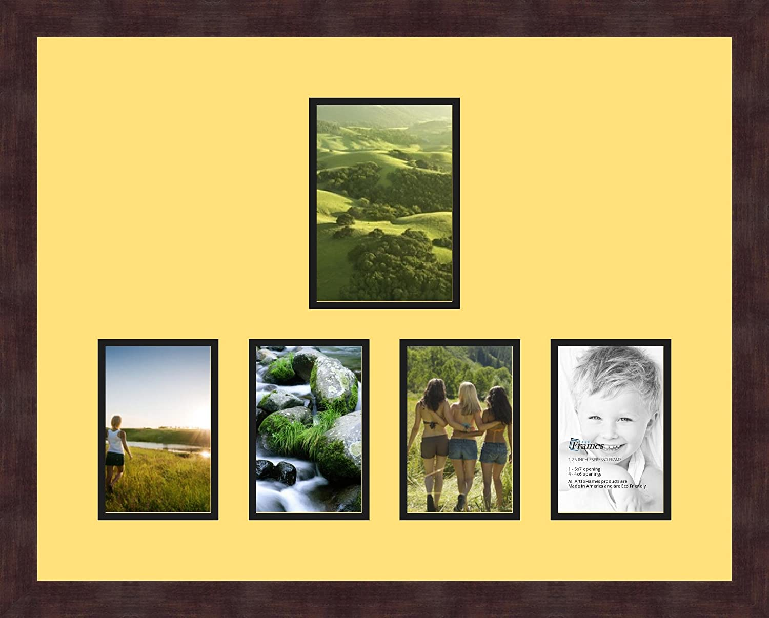 Art to Frames Double-Multimat-1067-47R//89-FRBW26061 Alphabet Photography Picture Frame with 1-5x7 and 4-4x6 Openings and Espresso Frame