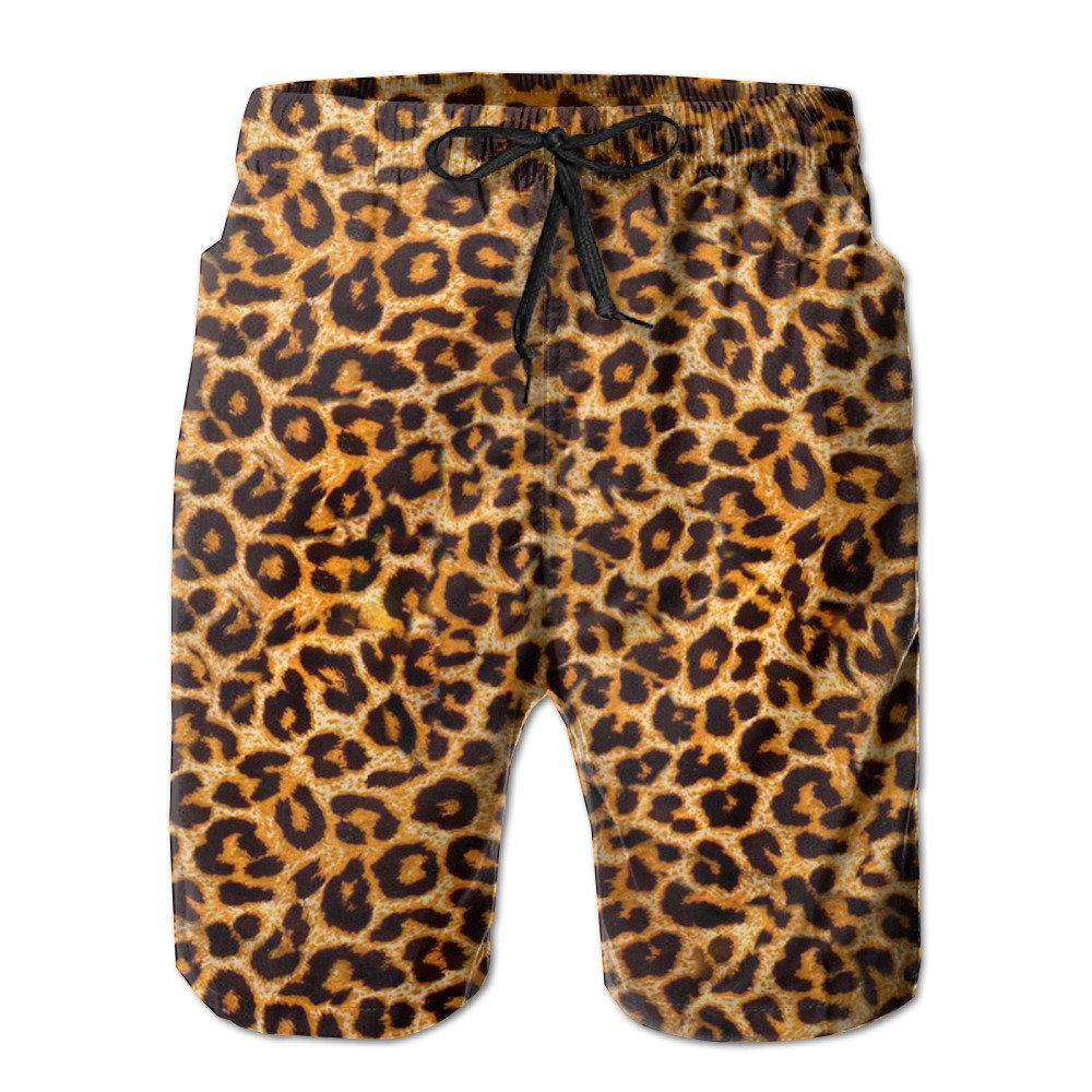 Surferhome Leopard Print Mens Swim Sports Beach Casual Fashion Swim Boardshorts