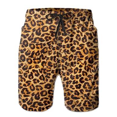 ceb7f8e534 Amazon.com: HUHN Leopard Print Men's Swim Trunks Printed Quick Dry ...