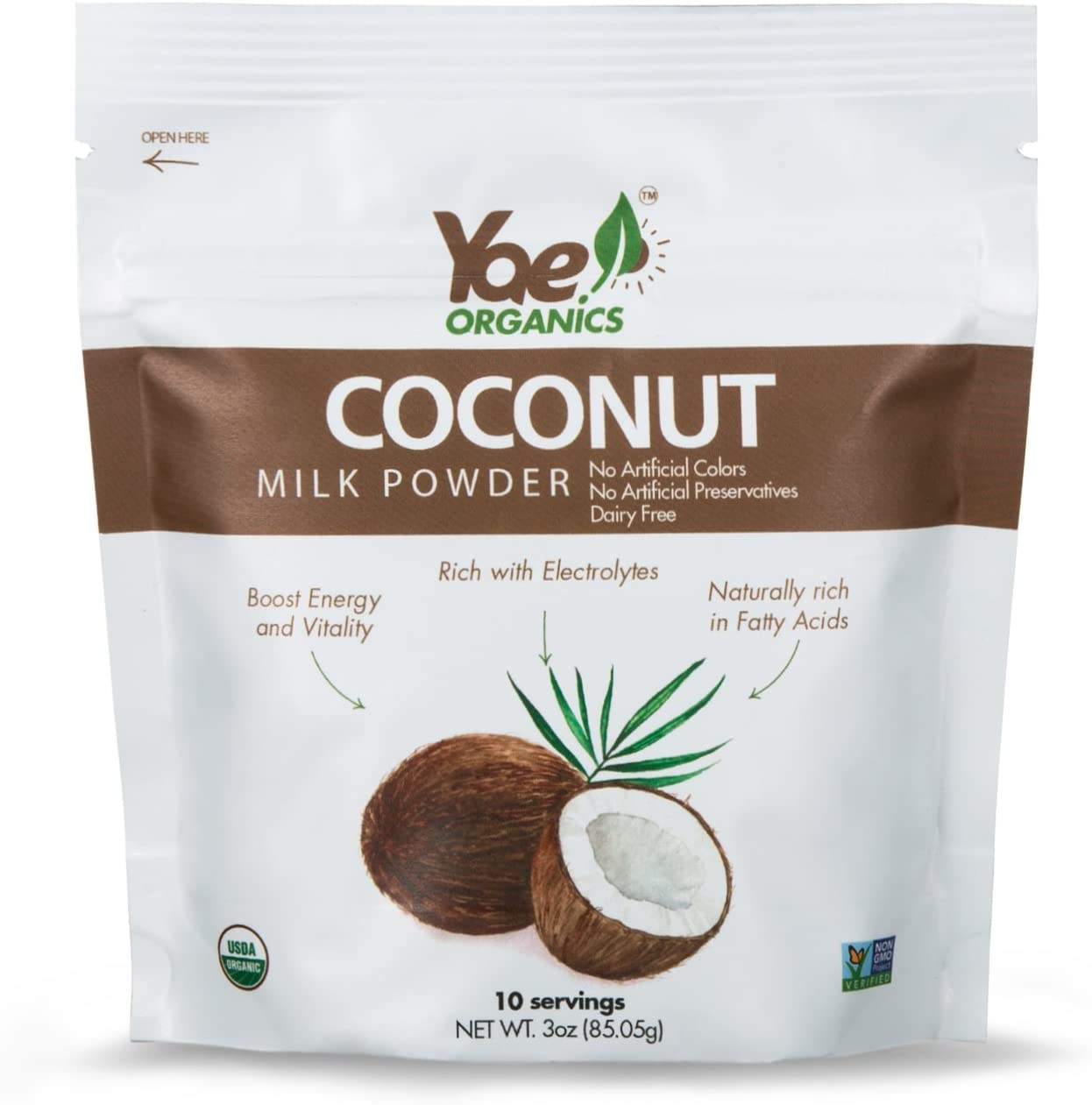 Yae! Organics 100% Organic Keto Coconut Milk Powder Non GMO Gluten Free, Vegan, Dairy Free Powdered Coconut Milk (3oz/10 Servings)