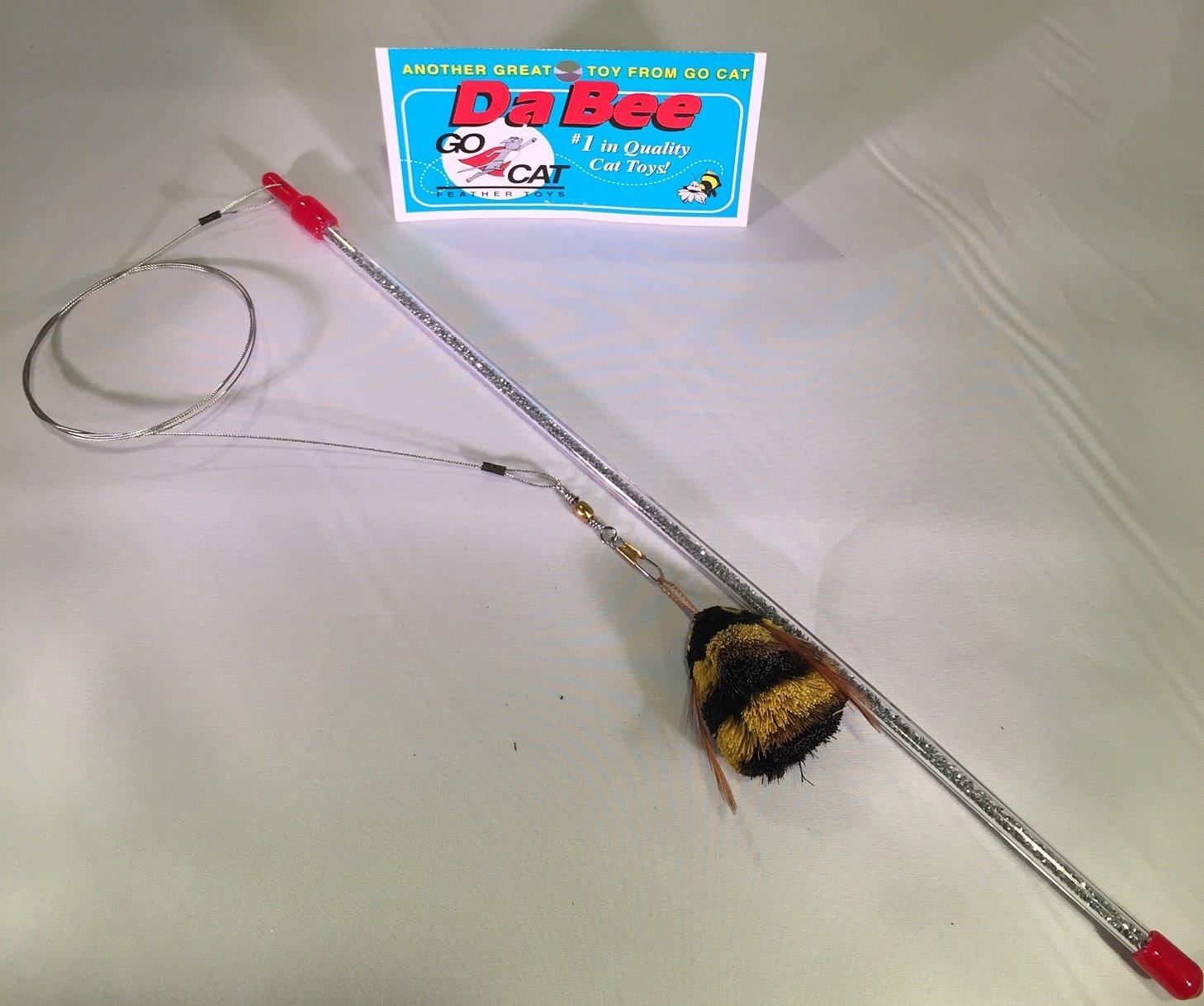 Go Cat Da Bee Teaser Wand From The Maker Of Da Bird and Cat Catcher - Silver Glitter Wand