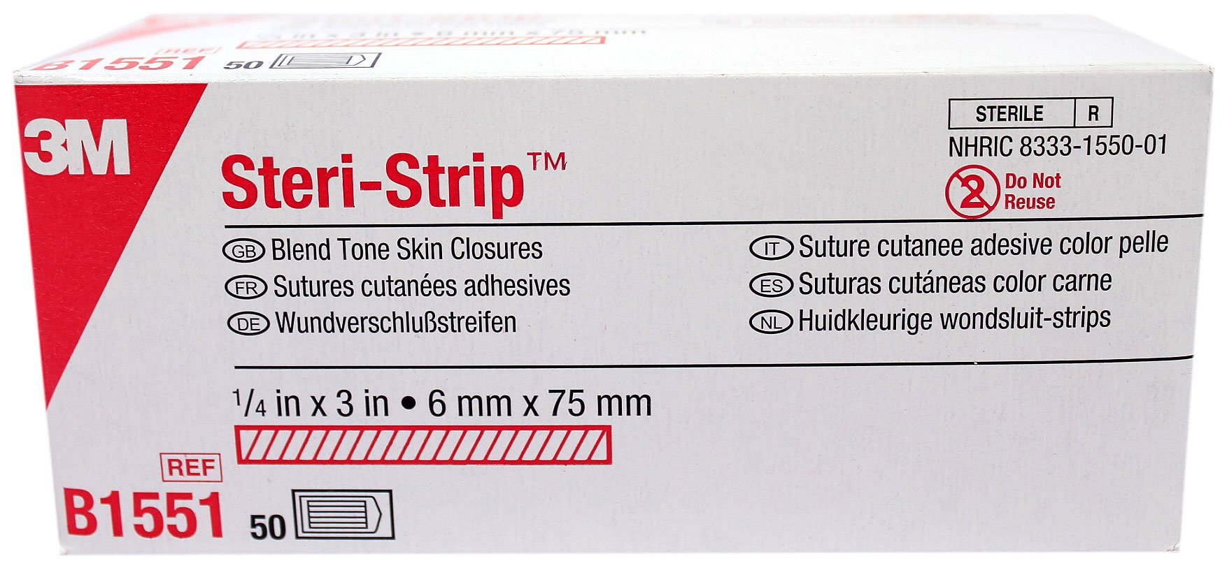 3M B1551 Steri-Strip Wound Closure 1/4'' x 3'' TAN- 3 Strips per Pack - Box of 50 Packs