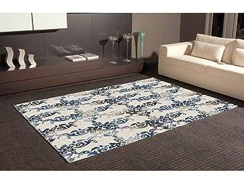 Teppich Bettvorleger Pvc Motive Damaskus Blau Und Schwarz Boden