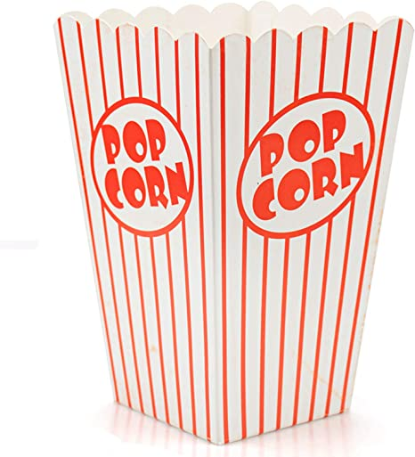 100 Small Popcorn Boxes Open Containers Cups Theater Bags Cardboard Paper Carton