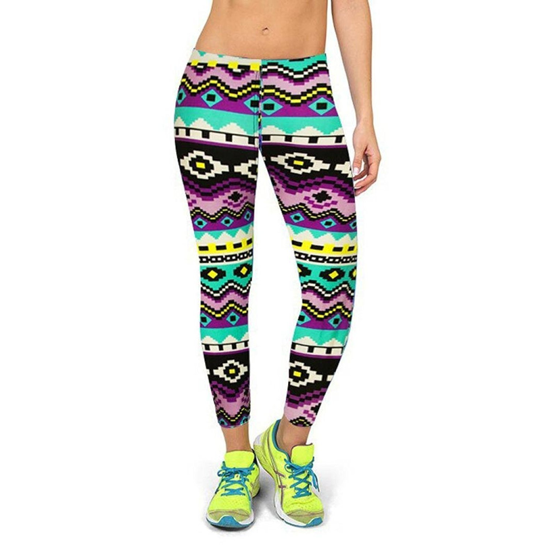Fulltime(TM) High Waist Fitness Yoga Sport Pants Printed Stretch Cropped Leggings F-3327