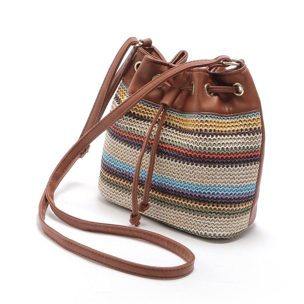 PU Bucket Bag Crossbody Shoulder Bag Women Girls Messenger Bag National Style