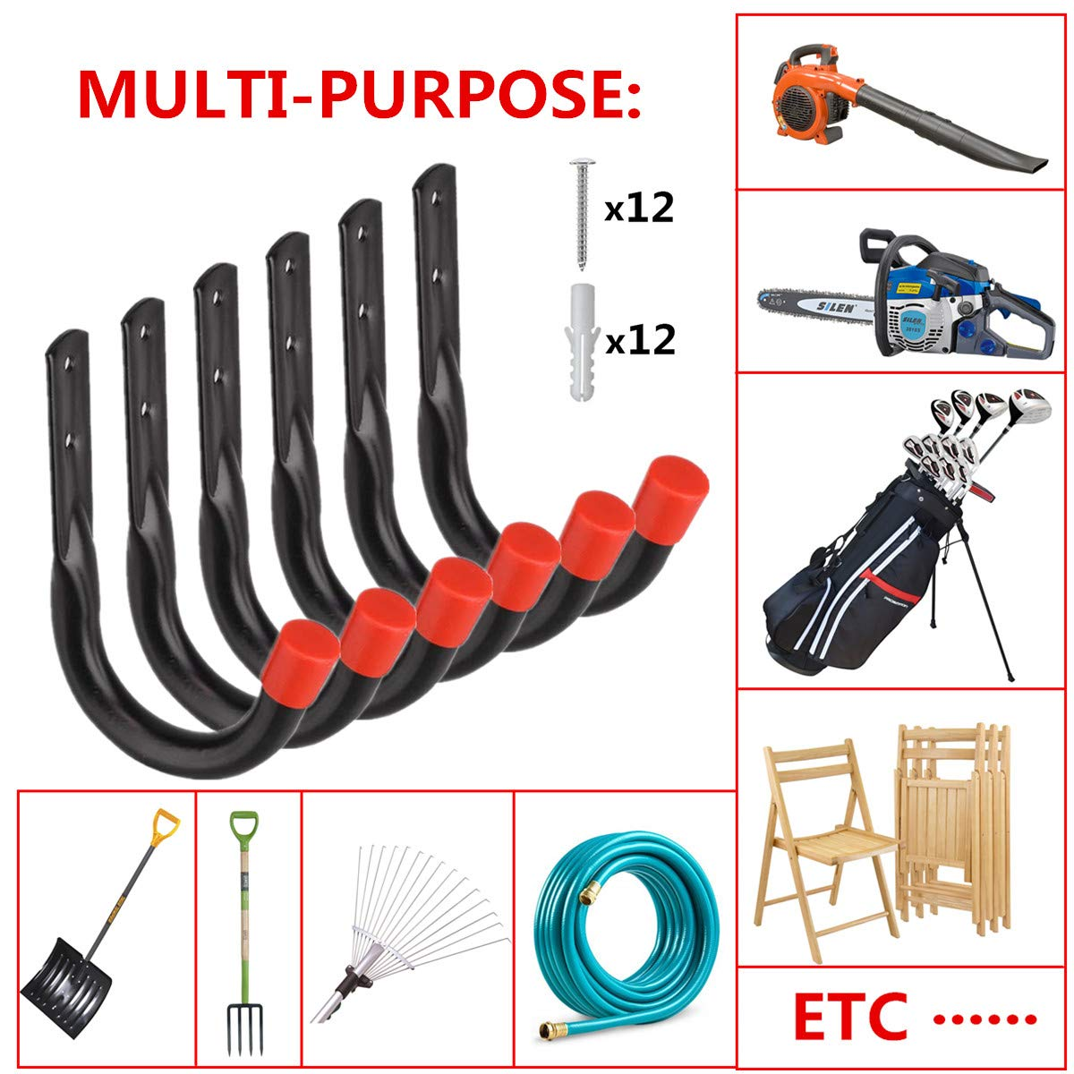 Black Heavy Duty Garage Utility U Hooks,Wall Mount Garage Hanging Storage Hook for Ladders Bicycle and Tools 6 Pack