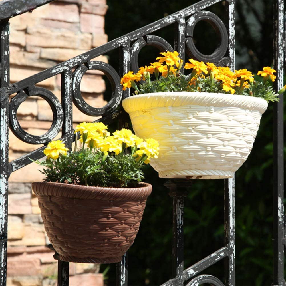 J-ouuo Hanging Plant Pot Semicircular Haning Planter Upright Flower Pot Resin Wall Hanging Pot for Home and Garden