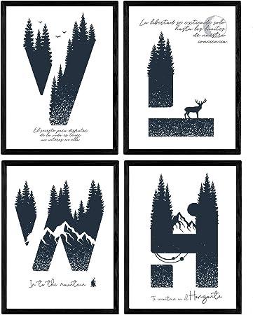 Pack de Cuatro Posters de Letras con diseño de Naturaleza. Letras ...