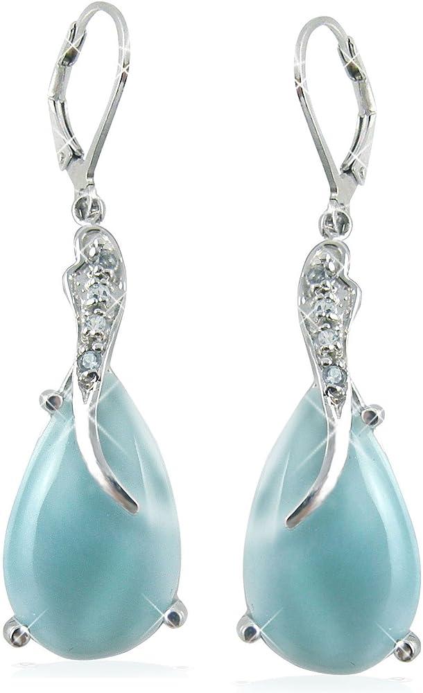 Larimar Gemstone 925 sterling Silver Dangle Earring