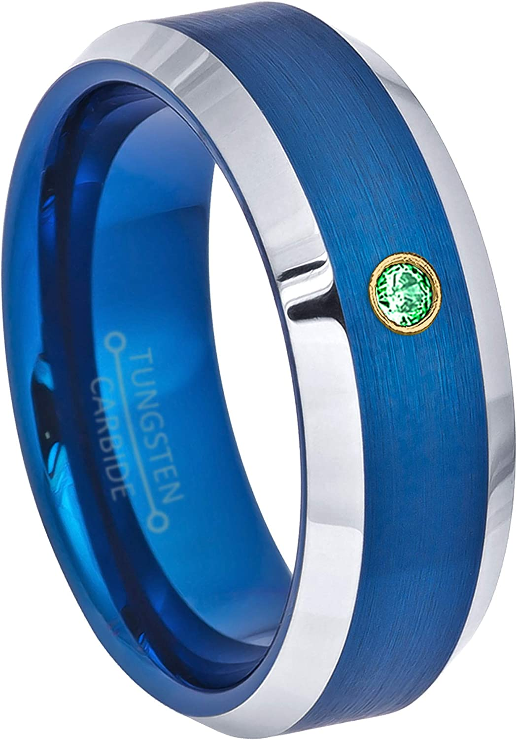 January Birthstone Ring Comfort Fit Tungsten Wedding Band 0.07ct Tsavorite Garnet Solitaire Ring 8mm Brushed Finish Blue Tungsten Ring