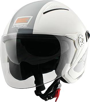 Origine helmets 202529018100205 Casco Falco Retrò, Talla : L, Brillo Blanco/Gris