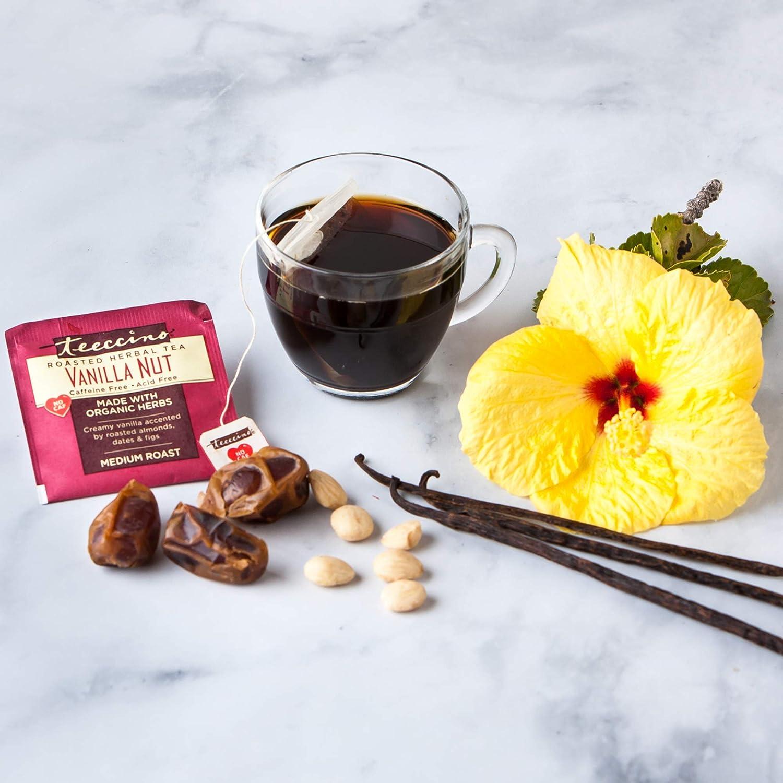 Teeccino Herbal Tea – Vanilla Nut – Rich & Roasted Herbal Tea That's Caffeine Free & Prebiotic for Natural Energy, 25 Tea Bags