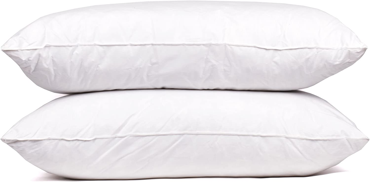 Sweet Home Collection Goose Down and Feather 400 Thread Count Premium Bed Pillow, Queen