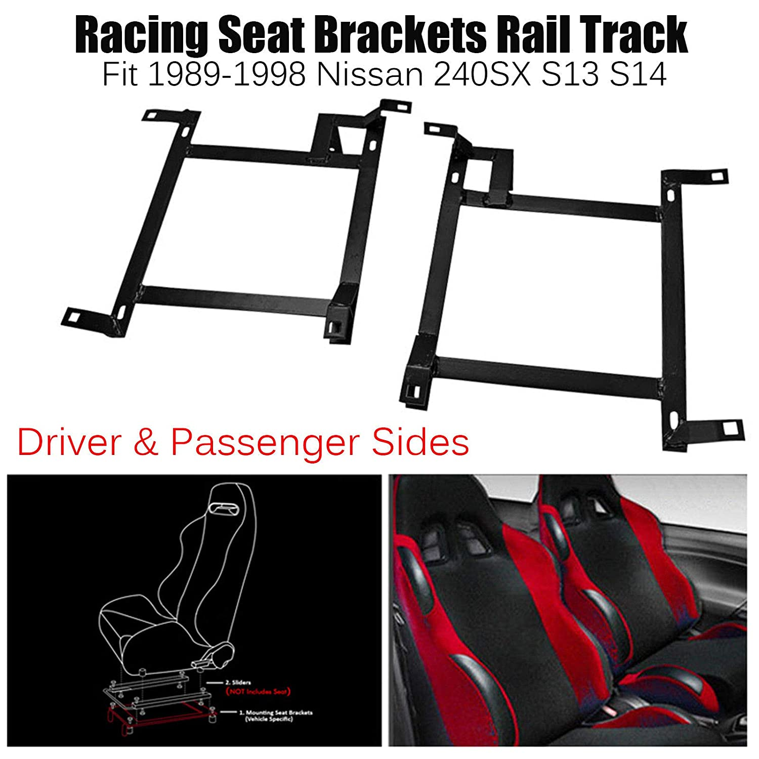 Driver & Passenger Sides Pair of Racing Seat Mounting Brackets Rail Track (Left & Right) for 1989-1998 Nissan 240SX S13 S14 blackhorseracing