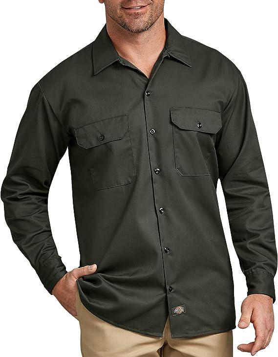 Dickies - Camisa con Manga Larga para Hombre, Color Verde Oliva, Talla L: Amazon.es: Ropa y accesorios
