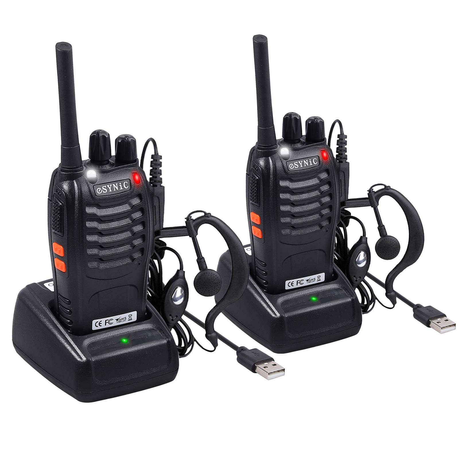 eSynic Rechargeable Walkie Talkies with Earpieces 2pcs Long Range Two-Way Radios 16 Channel UHF USB Cable Charging Walky Talky Handheld Transceiver with Flashlight by eSynic