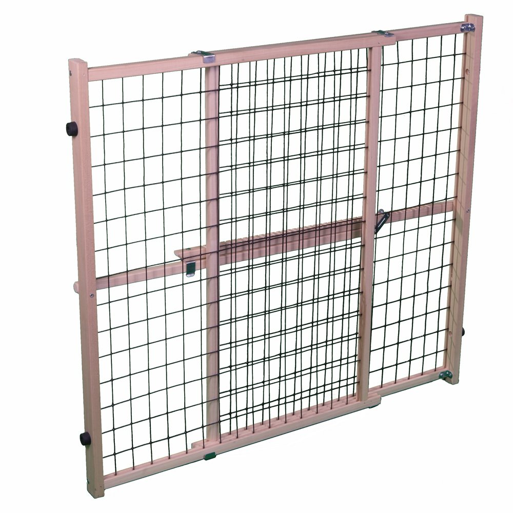 North States MyPet 50'' Extra Wide Wire Mesh Petgate: Hassle-free install with no tools. Pressure Mount. Fits 29.5''-50'' wide (32'' tall, Sustainable Hardwood)