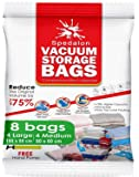 Vacuum Storage Bags - Pack of 8 (4 Large (100x80cm) + 4 Medium (80x60cm)) ReUsable with free Hand Pump for travel packing. Best Sealer Bags for Clothes, Duvets, Bedding, Pillows, Blankets, Curtains