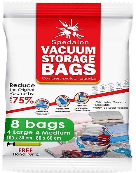 Bolsas de almacenamiento de vacío: paquete de 8 - 4 grandes (40x31) + 4 medianos (31x25) ahorradores de espacio ReUsable con bomba de mano gratuita ...