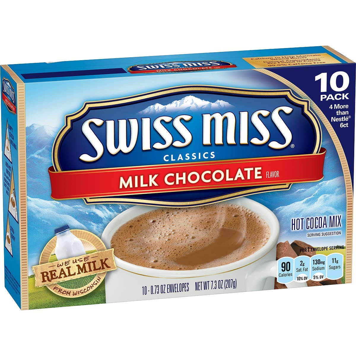 Swiss Miss Milk Chocolate Flavor Hot Cocoa Mix, 10-Count 0.73-oz. Packets (Packof 12)