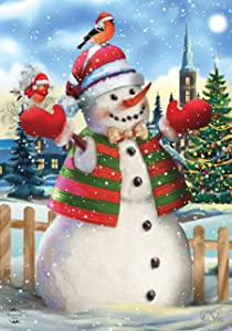 Briarwood Lane It's Snowing Christmas Garden Flag Snowman Birds 12.5