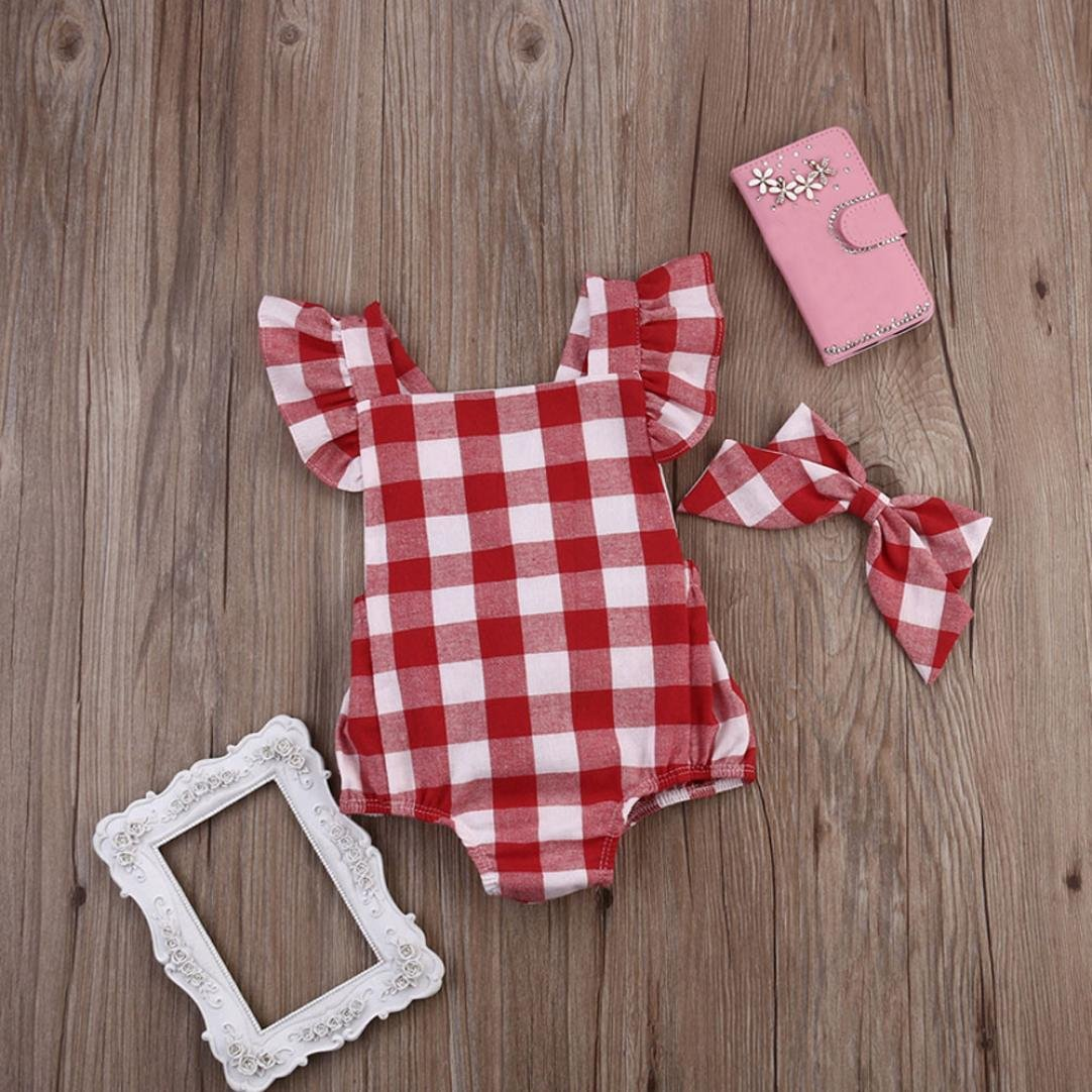 2Pcs Newborn Infant Baby Girls Onesies Bodysuits Cute Ruffled Sleeve Bowknot Jumpsuit Hairpin Outfit Set