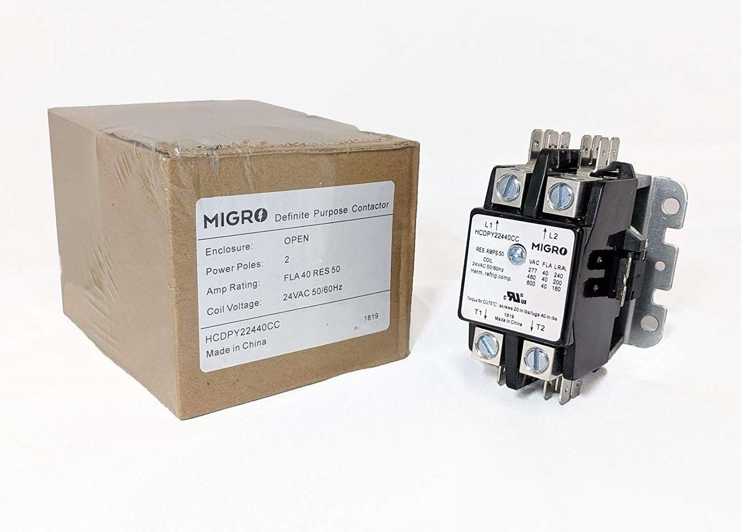 Migro 2 Pole 40 AMP Heavy Duty AC Contactor Replaces Virtually All Residential 2 Pole Models 2 Pole 120VAC Coil Voltage