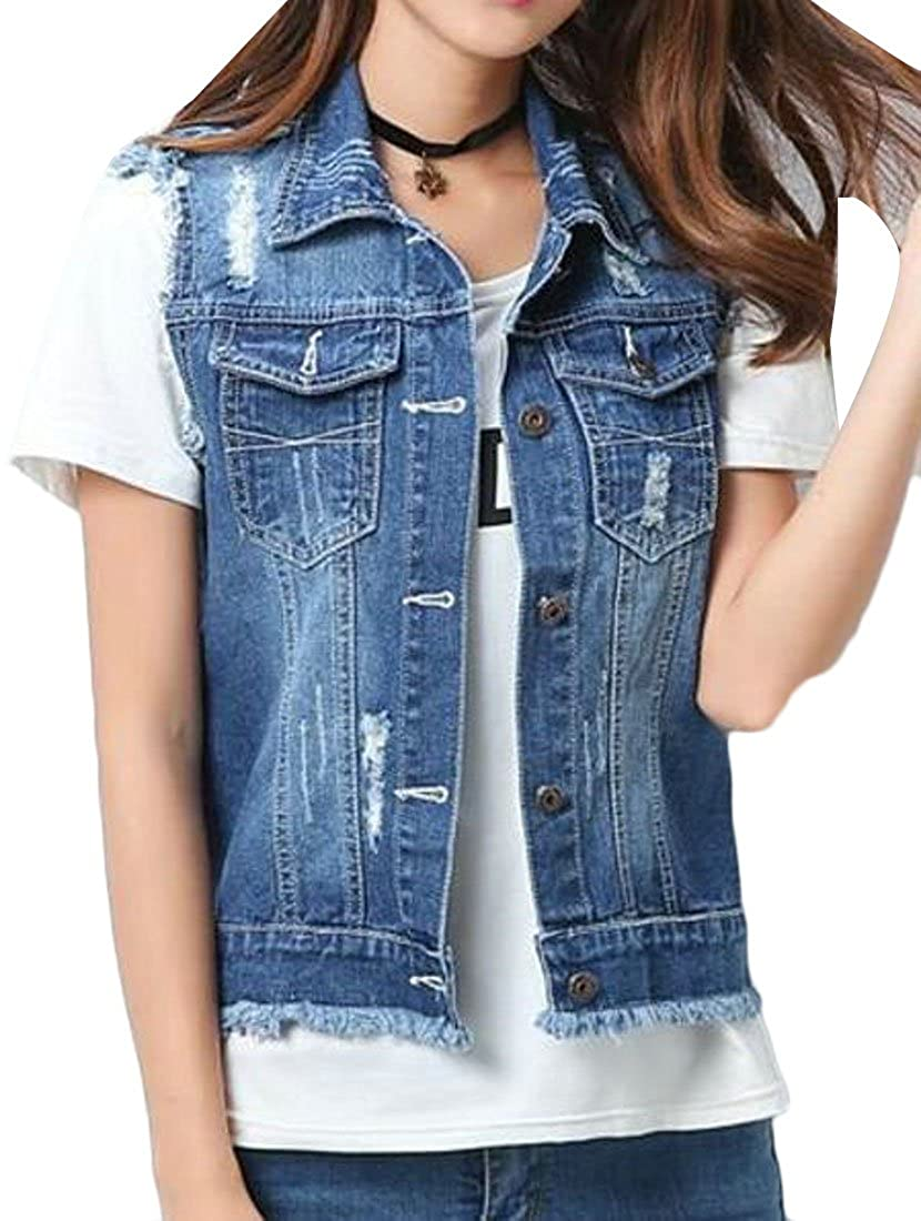 GRMO-Women Vest Distressed Jean Denim Jacket Cutoff Coat Buttoned
