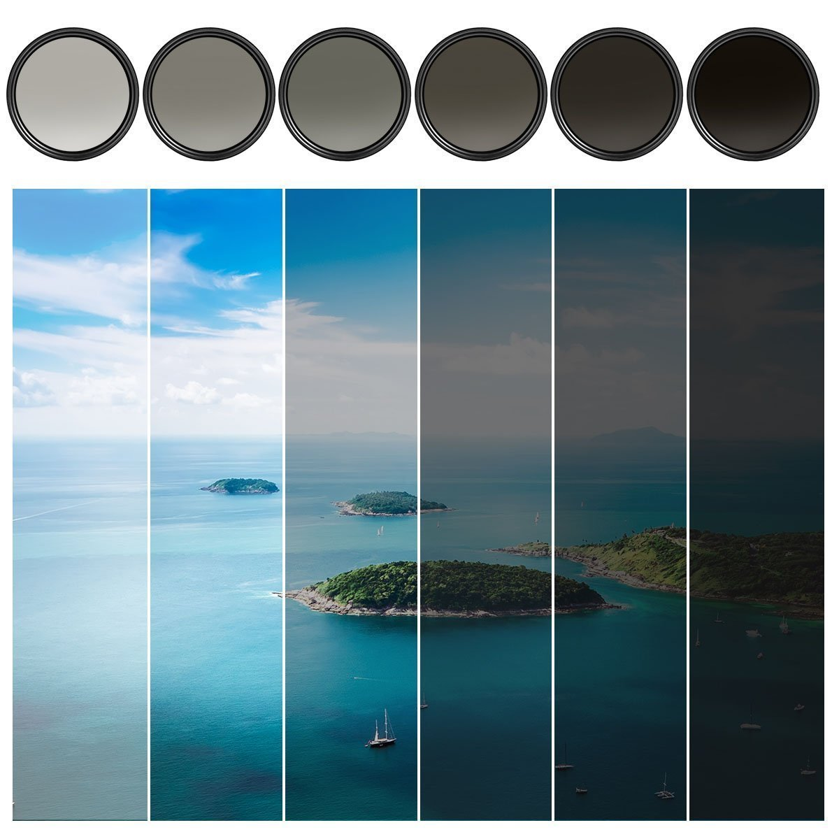 62MM Variable Neutral Density Slim Filter - ND ND2 to ND400 Filter For Canon, Nikon, Sony, Sigma, Fujifilm, Fuji, FUJINON, Carl Zeiss Lens