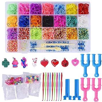 1854ea13c37d Gudotra Acerca de 6800 pcs Loom Bands Kit de Loom Juguetes DIY para Hacer  Joyas para Niños Pulseras