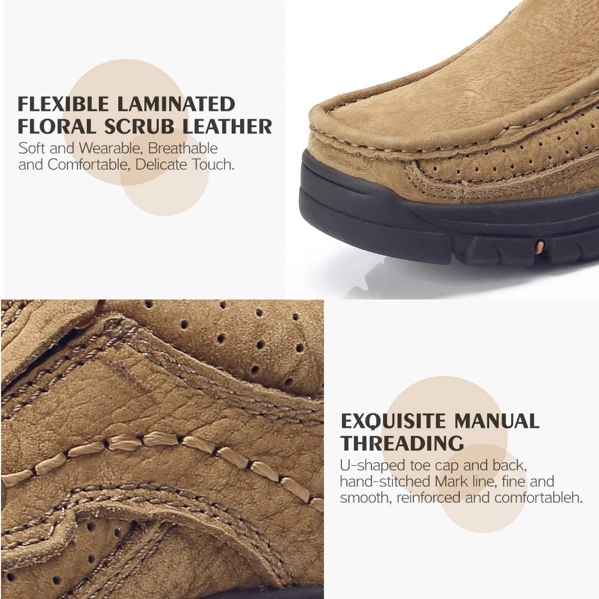 CAMEL CROWN Zapatos de Cuero para Hombres, Antideslizante Slip Ons Mocasines Transpirable Confort Moda Casual Zapatos Bajos de Conducción Negocio Oficina ...
