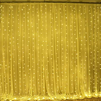 Curtains Ideas curtain lights for bedroom : Amazon.com : Solla Curtain Lights 19.6ft9.8ft 600 LEDs Window ...