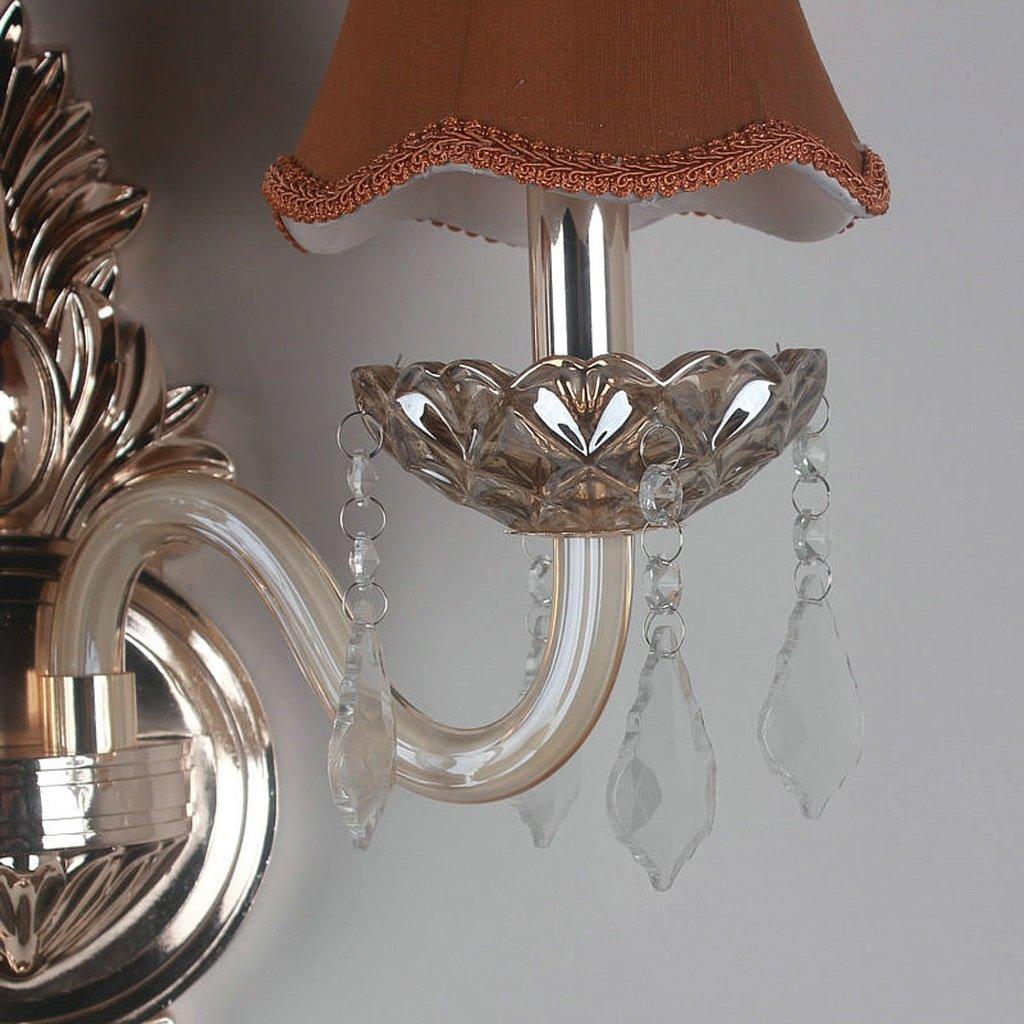 Great St. D G F Europäische doppelköpfige doppelköpfige doppelköpfige Kristallwand-Lampe, Überzug-Lampen-Körper, Tuch-Lampenschirm, mehrfarbige wahlweiße freigestellte, Schlafzimmer-Nachttischlampe (Farbe   braun) 634e7f