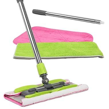 LINKYO Microfiber Mop | Hardwood Floor Mop | 3 Flat Mop Pads and Stainless Steel Handle with Extension