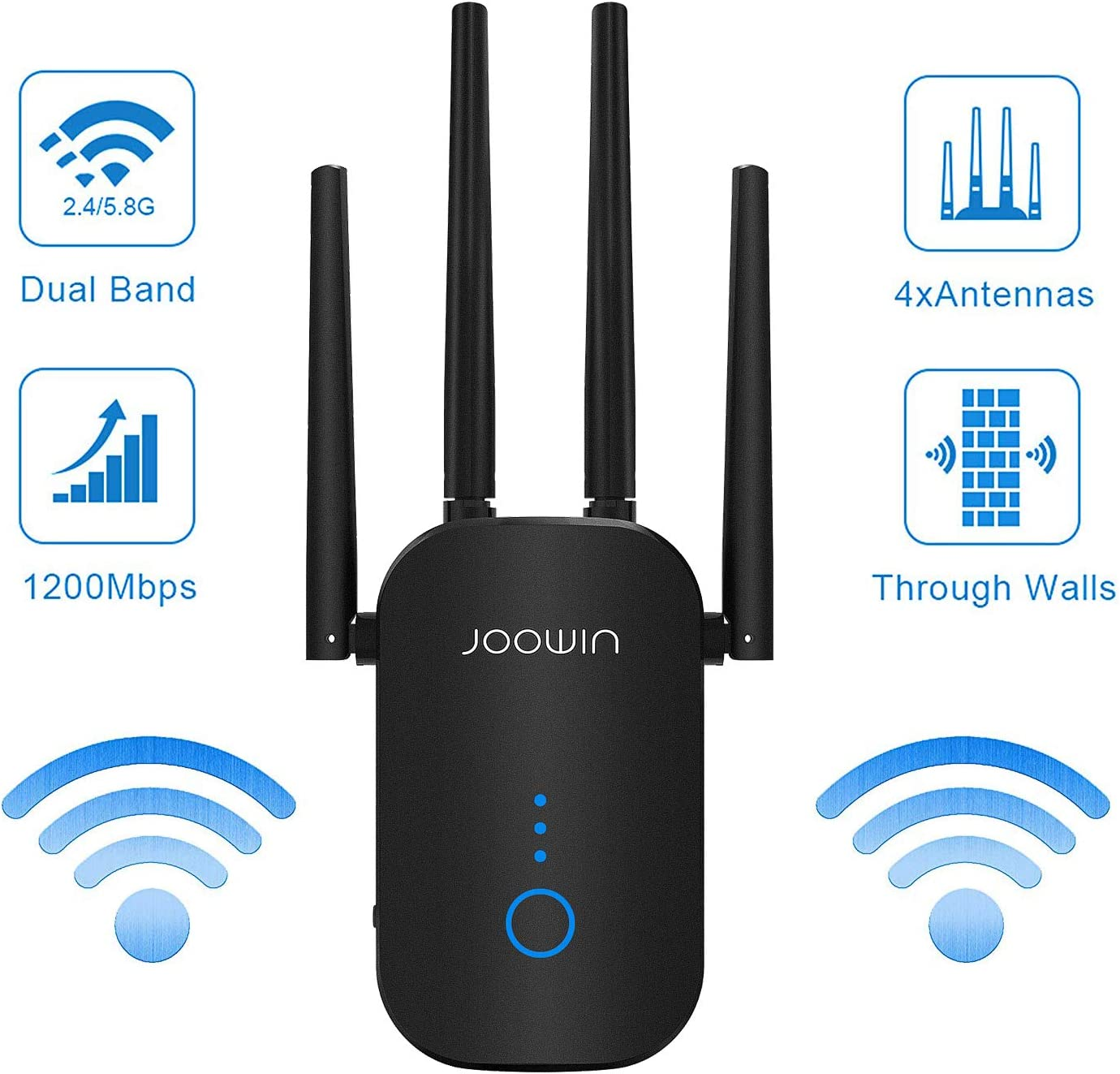 WiFi Range Extender | Up to 1200Mbps | WiFi Extender, WiFi Repeater, WiFi Signal Booster, Access Point | Easy Set-Up | External Antennas & Compact Designed Internet Booster